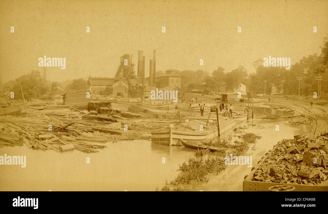 Antique cabinet card, labeled 'Chickies Furnace No. 2, Looking West, Monday June 3, 1889, after flood' - Stock Image