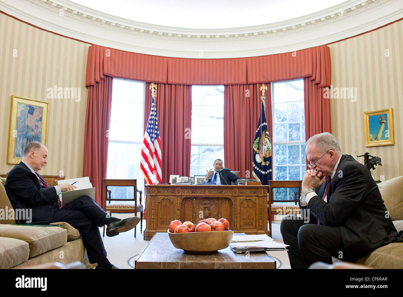 National Security Advisor Tom Donilon and John Brennan, Assistant to the President for Homeland Security and Counterterrorism, - Stock Image