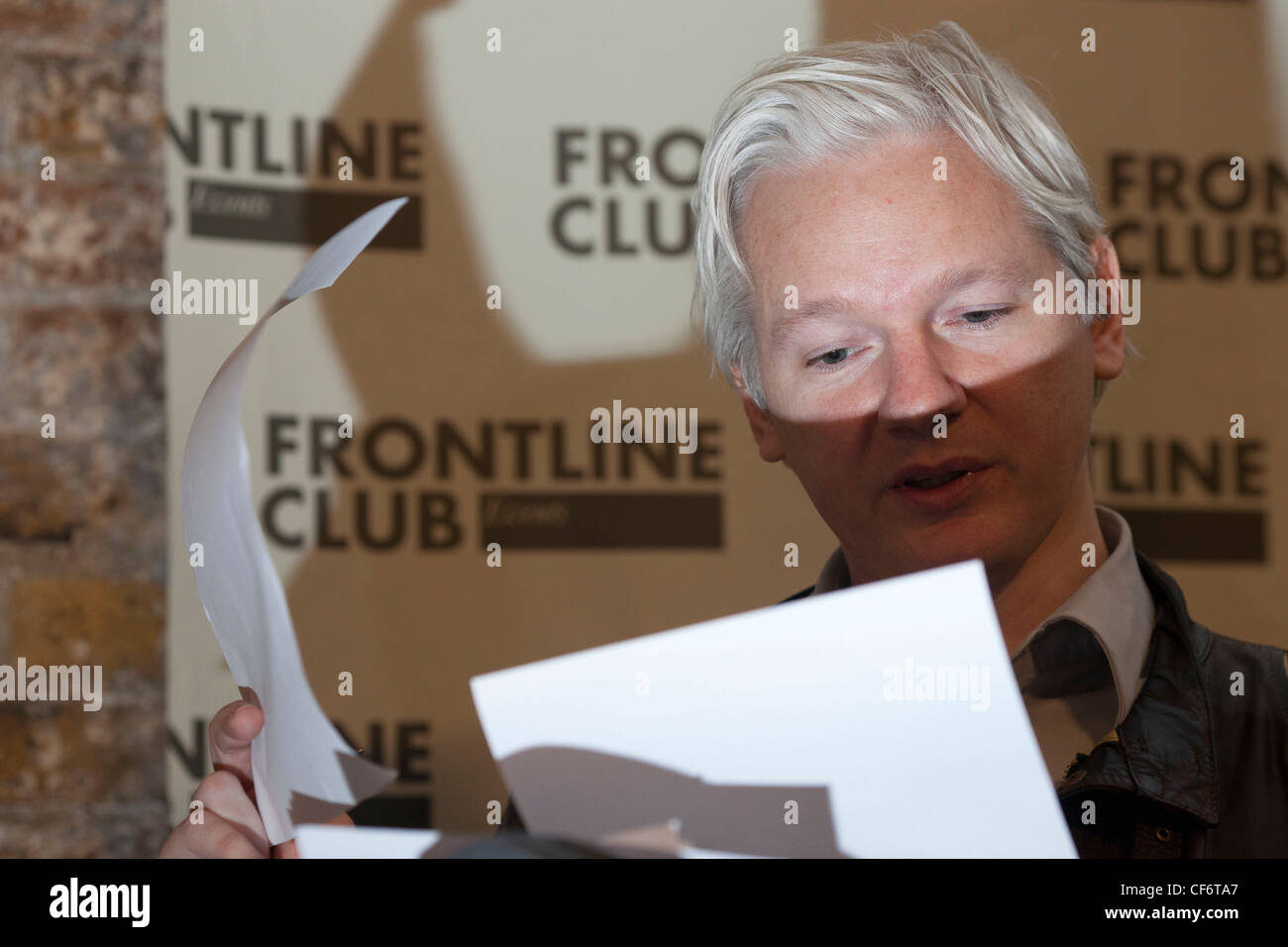 Julian Assange Wikileaks founder is seen during a press conference at The Frontline Club London - Stock Image