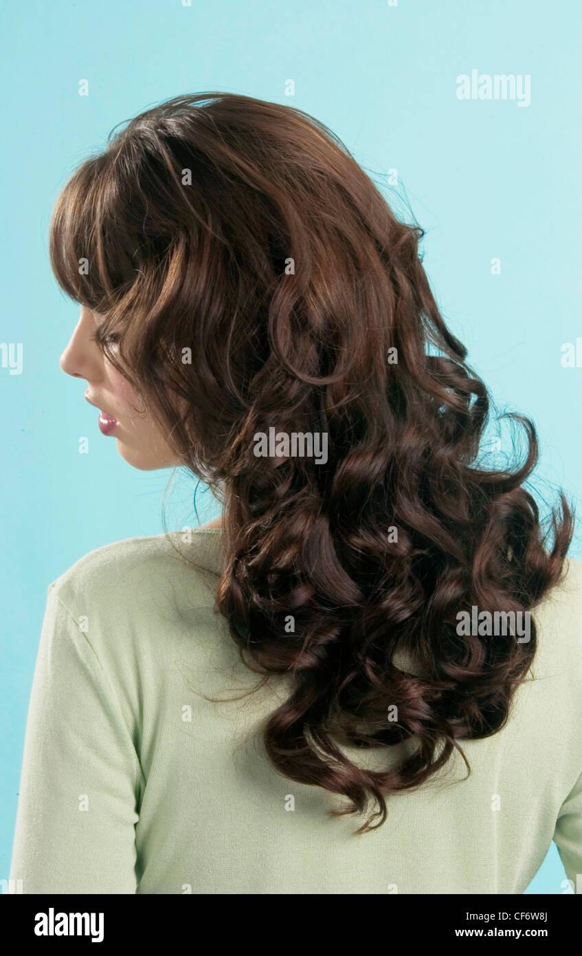 Back View Semi Profile Of Female Long Curly Brunette Hair Fringe