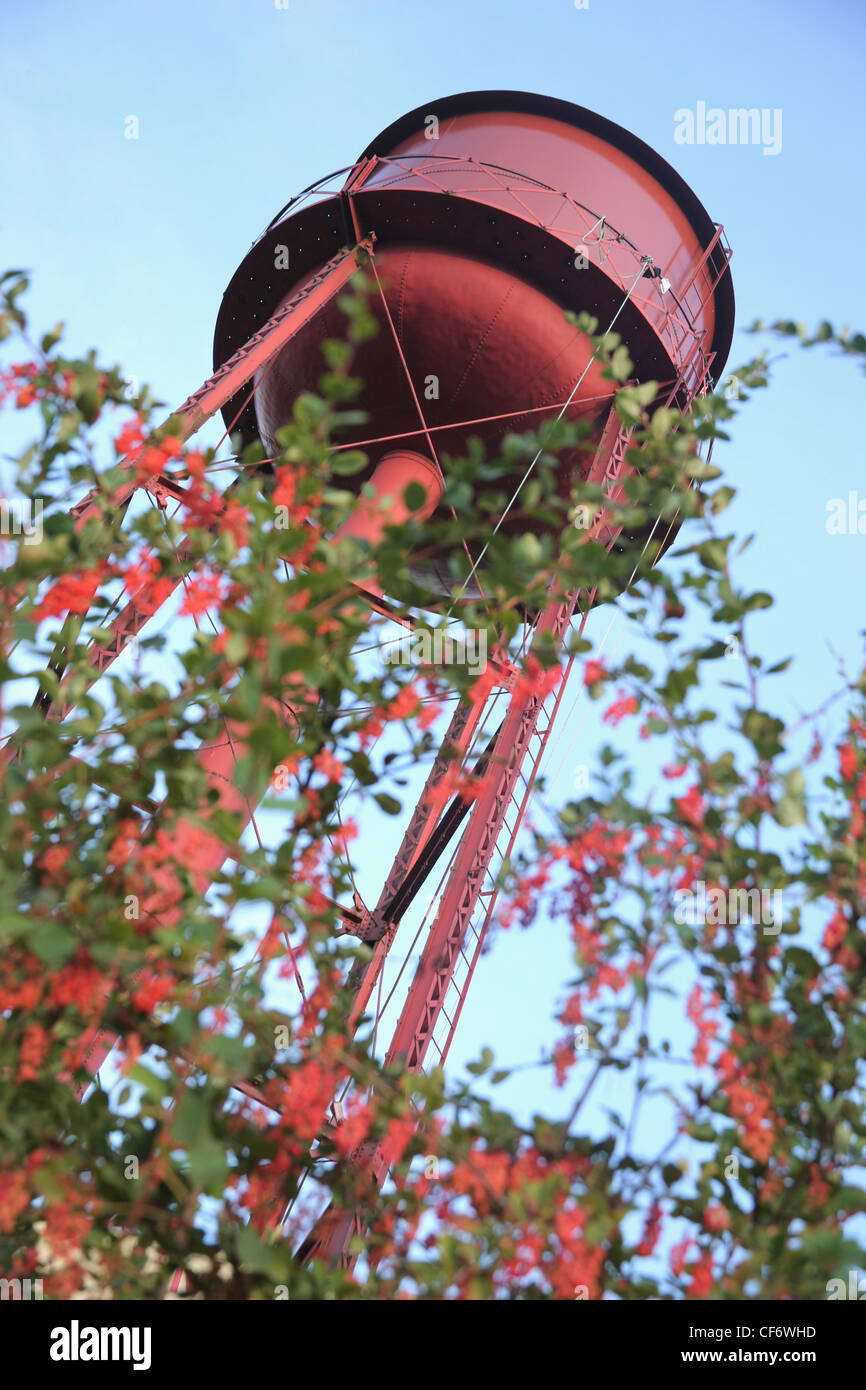 A Red Water Tower; Troutdale Oregon United States Of America - Stock Image