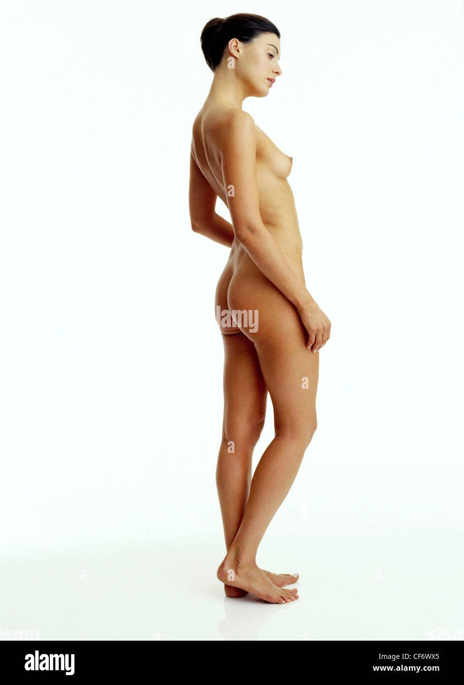 Woman nude side profile