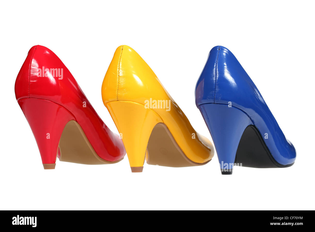 Colorful women's shoes heels - Stock Image