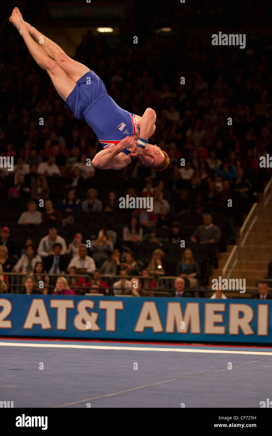 Daniel Purvis (GBR) competes in the floor exercise event at the 2012 American Cup Gymnastics - Stock Image