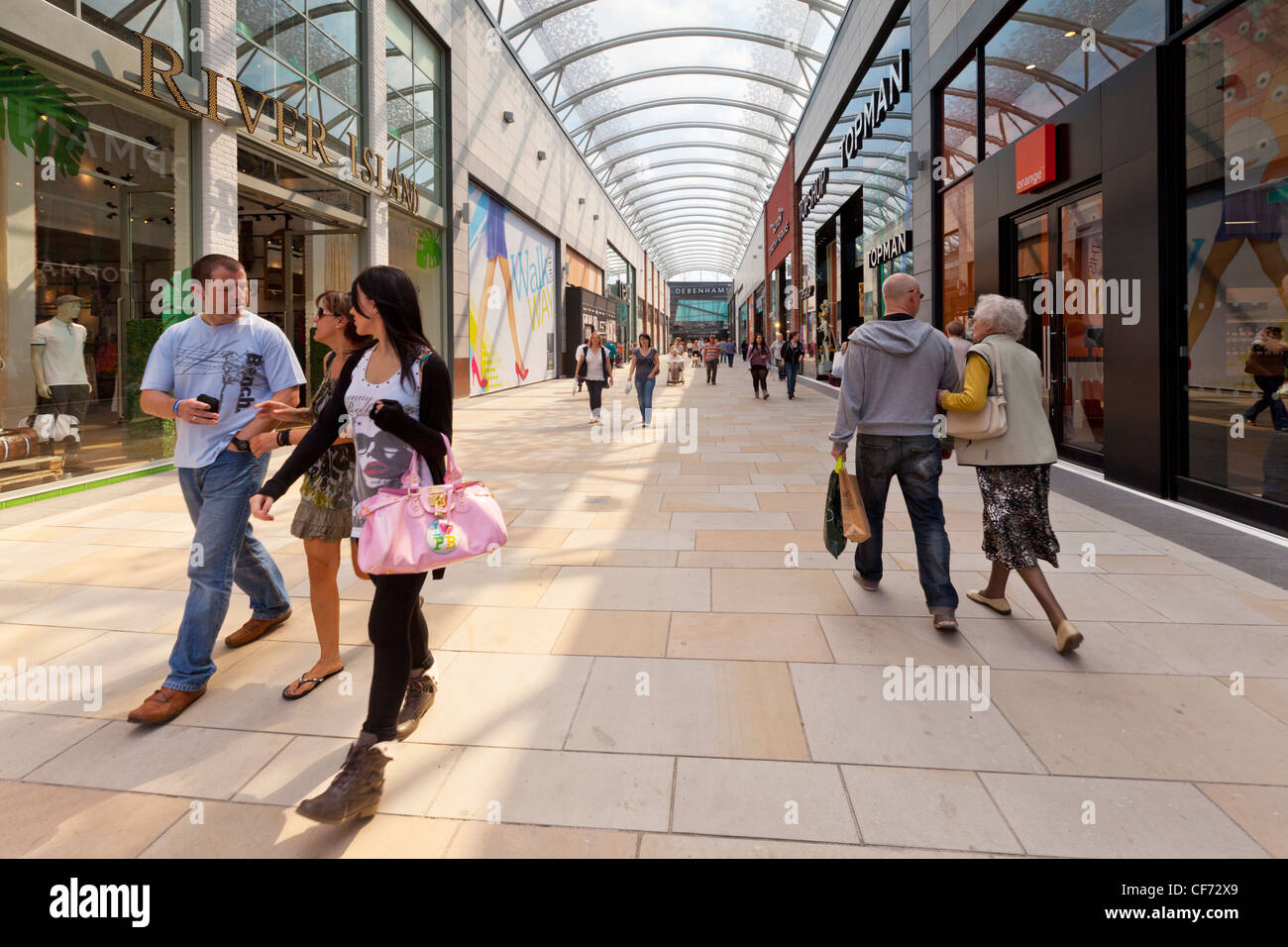 People walking in Trinity Walk, Wakefield's new shopping mall. - Stock Image