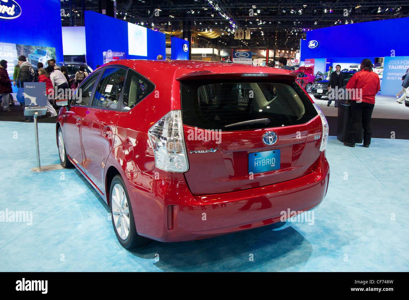 Toyota Prius V. 2012 Chicago Auto Show. - Stock Image