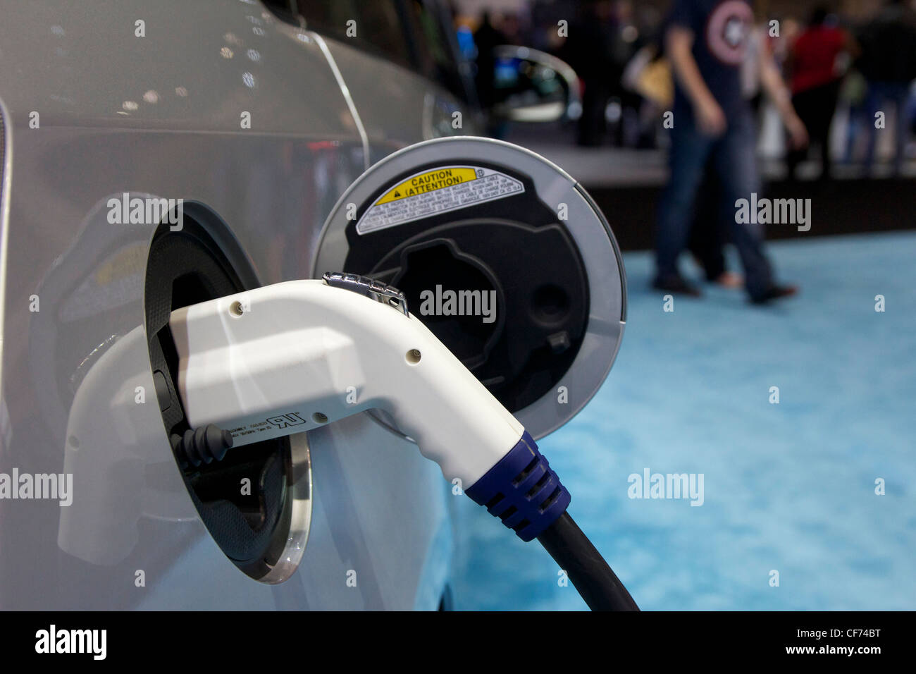 2013 Toyota Prius plug in hybrid charging receptacle. 2012 Chicago Auto Show. - Stock Image