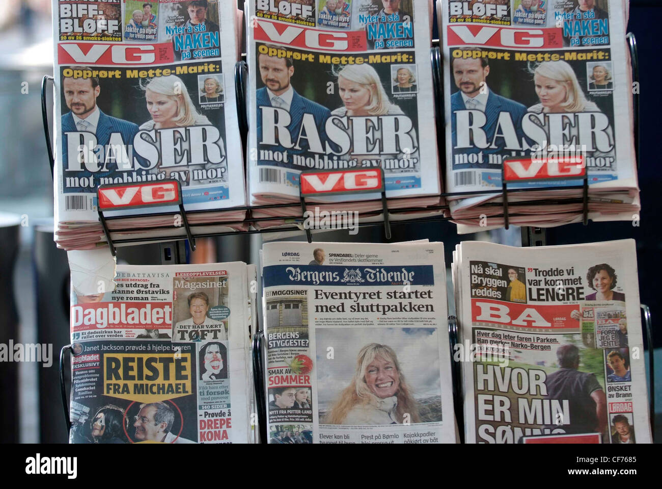 NORWAY Bergen local newspapers on sale Stock Photo