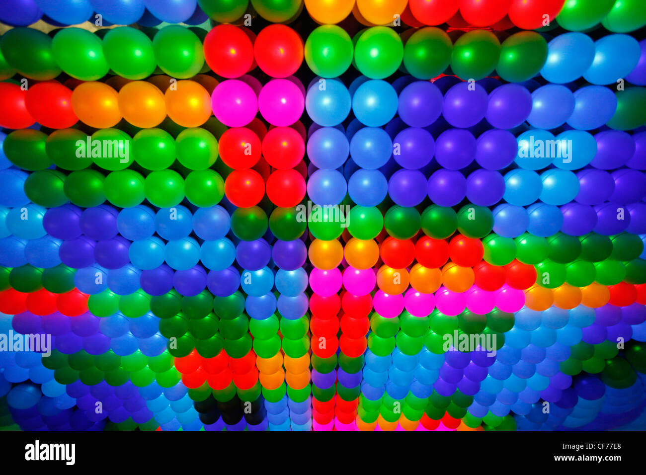Multi-coloured patterns of LED lights in a lighting display Stock Photo