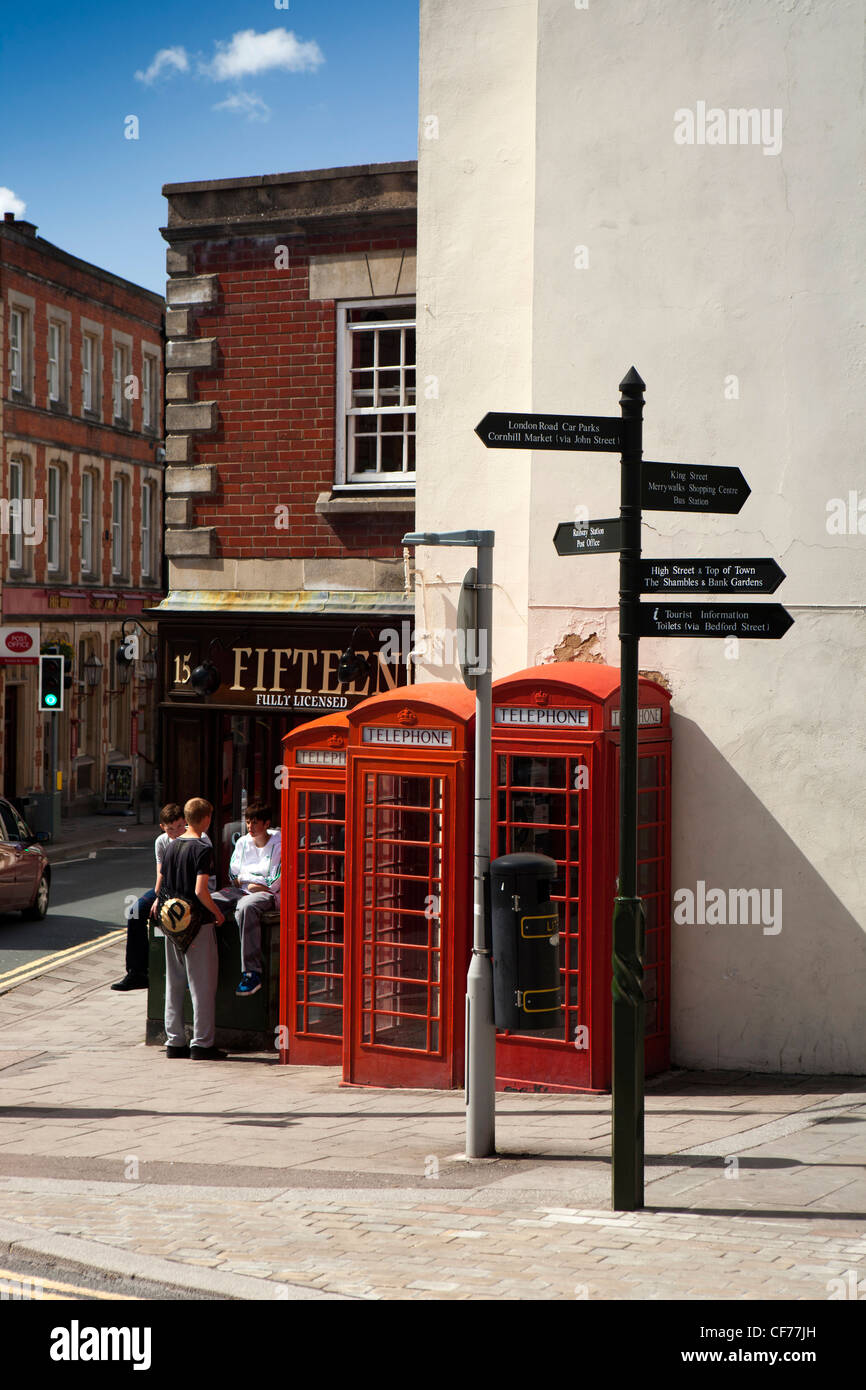 UK, Gloucestershire, Stroud, George Street, three grade 2 listed K6 red phone boxes - Stock Image