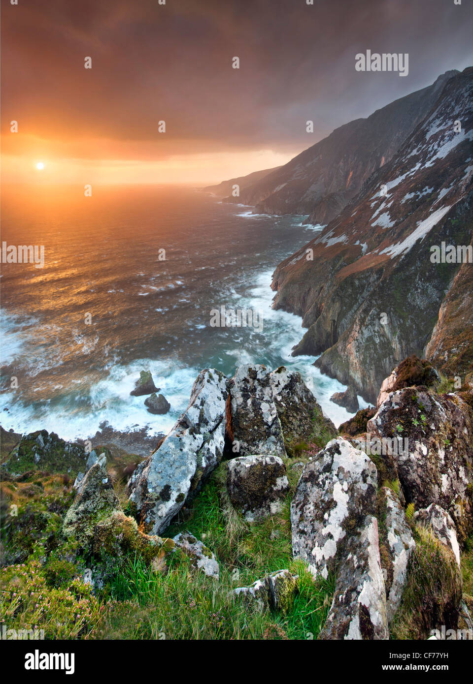 Slieve League cliffs at dusk, situated on the West coast of Donegal. - Stock Image