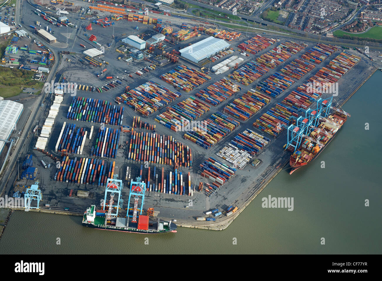 Containers on dockside at Liverpool Docks, Merseyside, North West England - Stock Image
