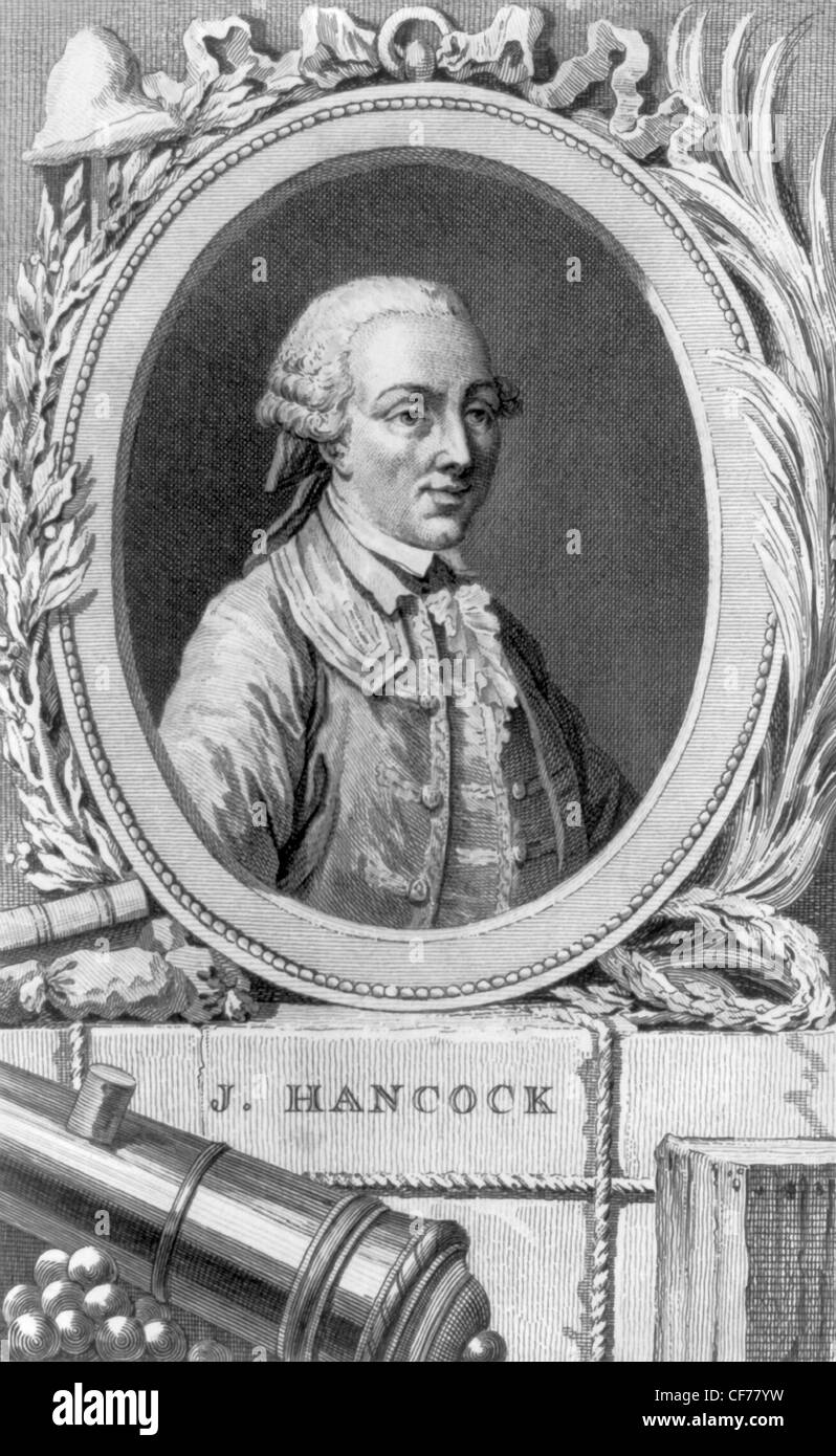Vintage portrait print of American statesman John Hancock (1737 - 1793) - a prominent political leader during the - Stock Image