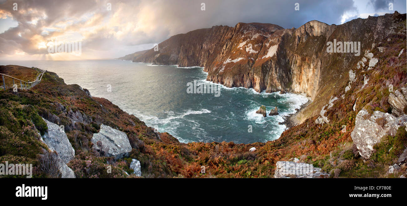 Panoramic capture of Slieve League cliffs, situated on the West coast of Donegal - Stock Image
