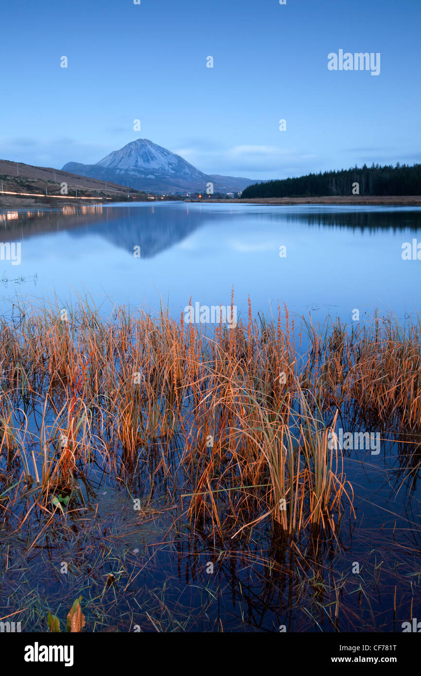 Mount Errigal as darkness falls. Donegal, Ireland, - Stock Image