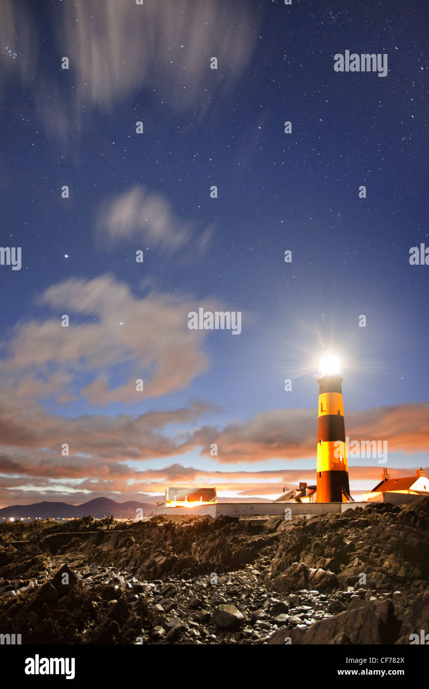 St Johns Lighthouse captured with starry sky. - Stock Image