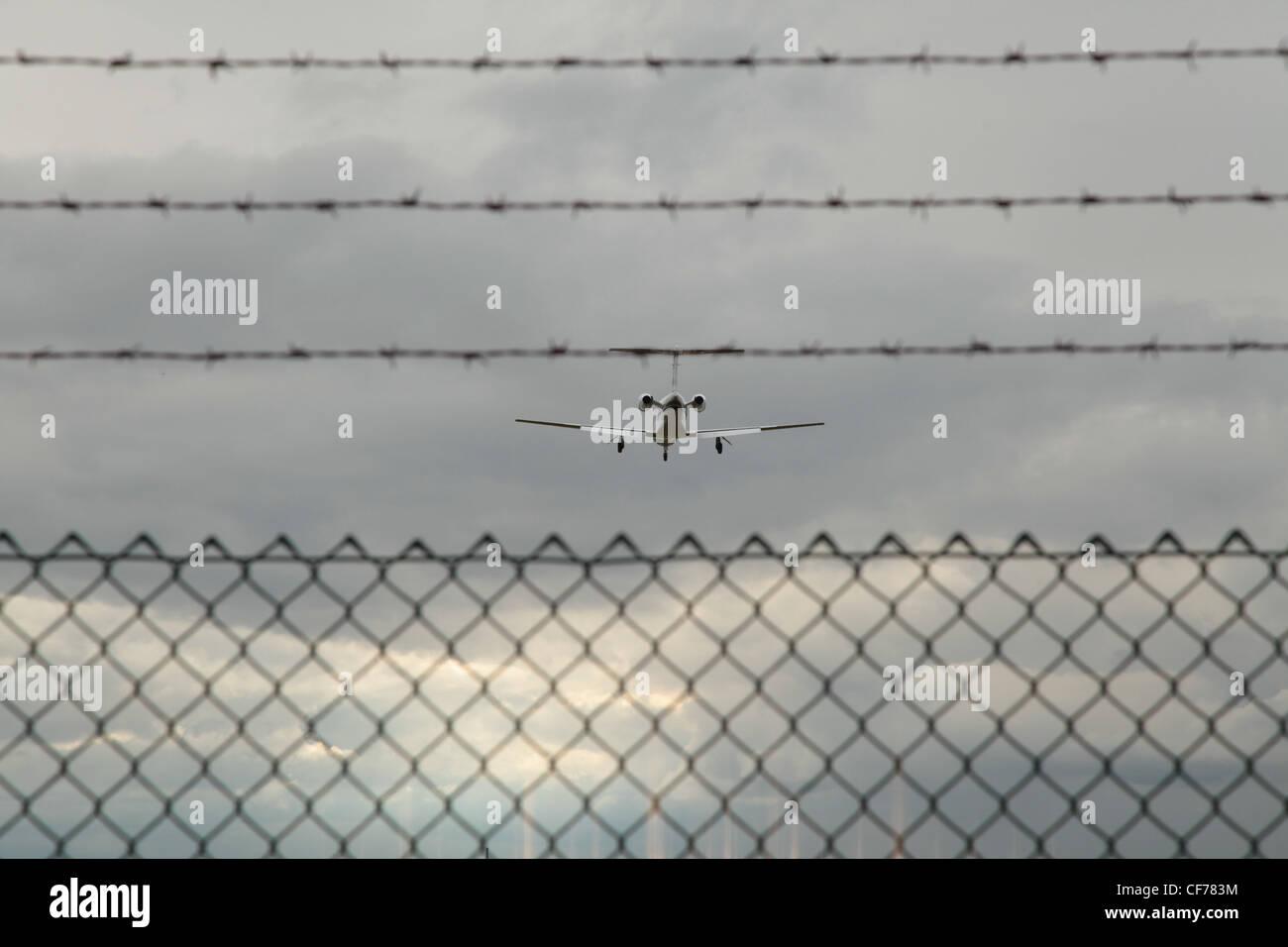 Im Landeanflug, Landing approach, Flugzeug, plane - Stock Image