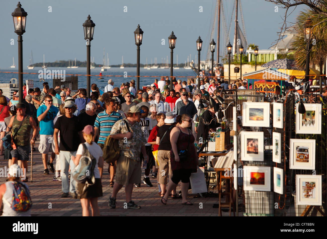 A crowd near sunset at Mallory Square, Key West, Florida - Stock Image
