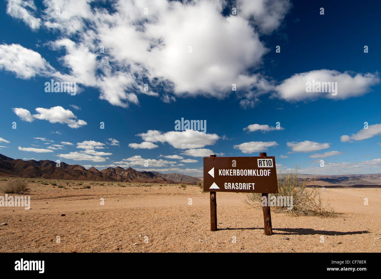 Directional sign for Route 10 to Kokerboomkloof and Grasdrift in the Richtersveld National Park, South Africa - Stock Image