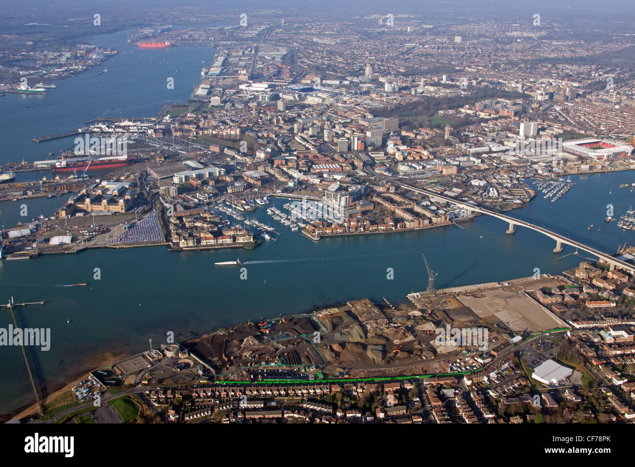 Aerial view of Southampton across River Itchen and with the River Test - Stock Image