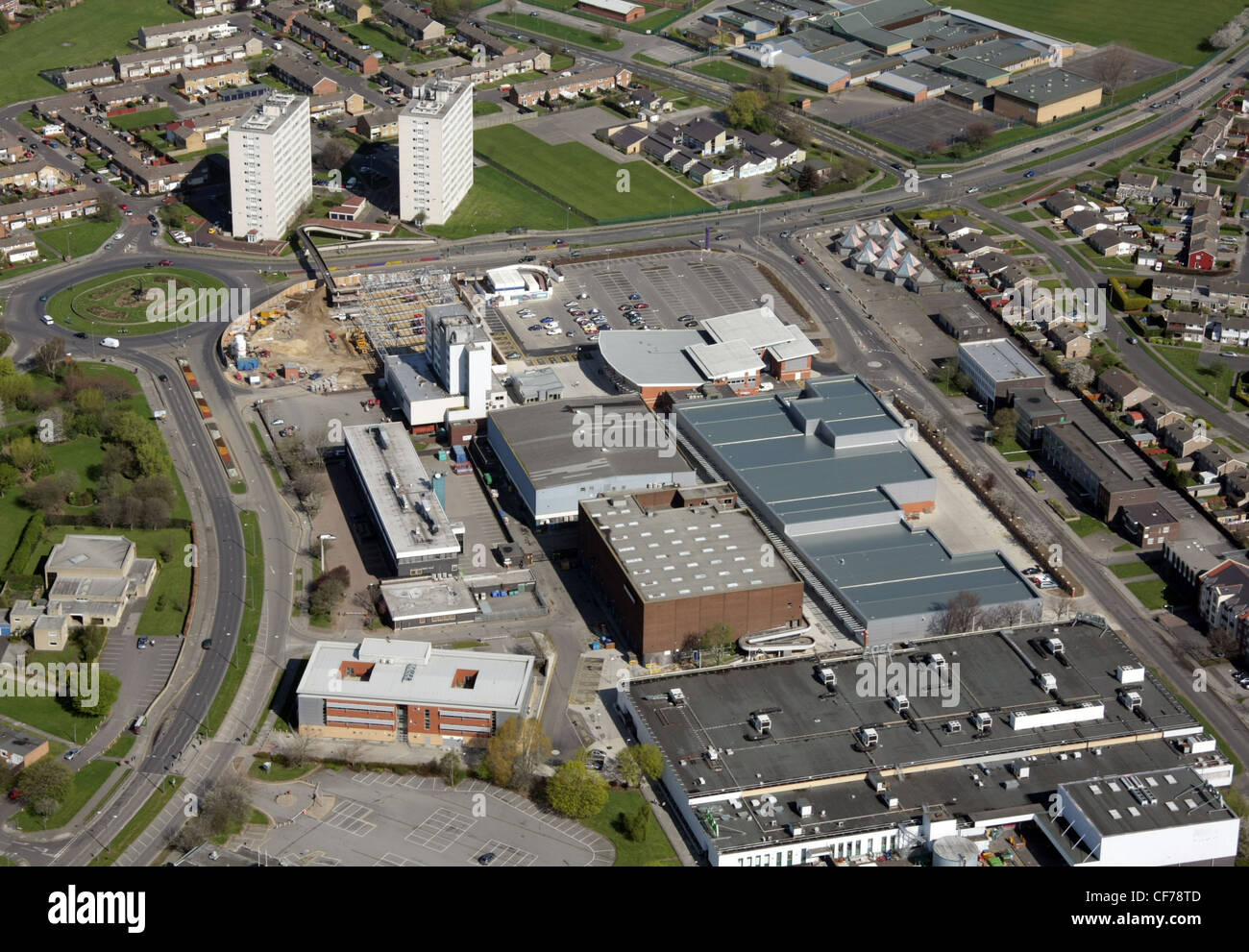 Aerial view of Thornaby-on-Tees town centre - Stock Image