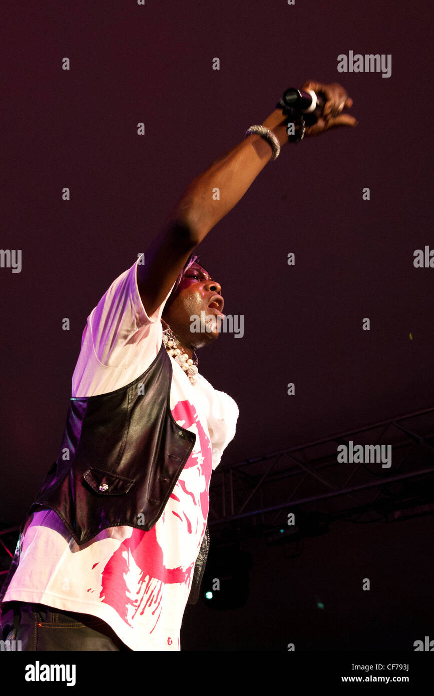 Big Freedia, Katey Red, Sissy Nobby, DJ Lazer, and the crew at Voodoo Festival 2010 in New Orleans. - Stock Image