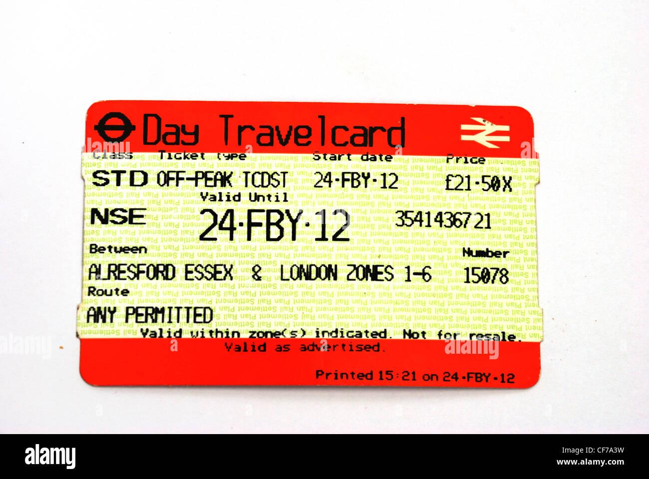 Travelcard rail ticket - Stock Image