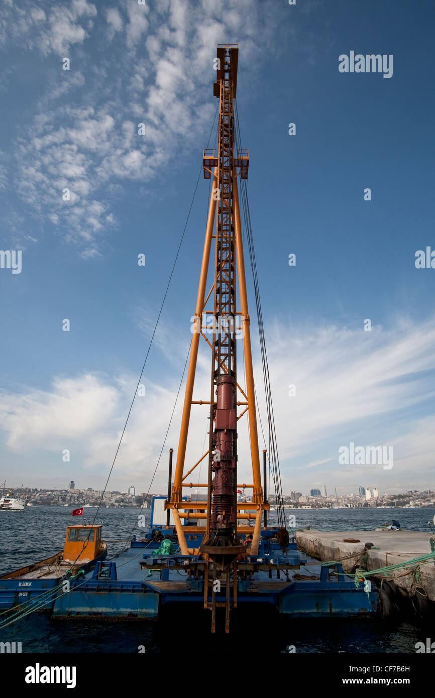 Floating Pile Driver Crane Istanbul Turkey November 2011 Stock Photo on
