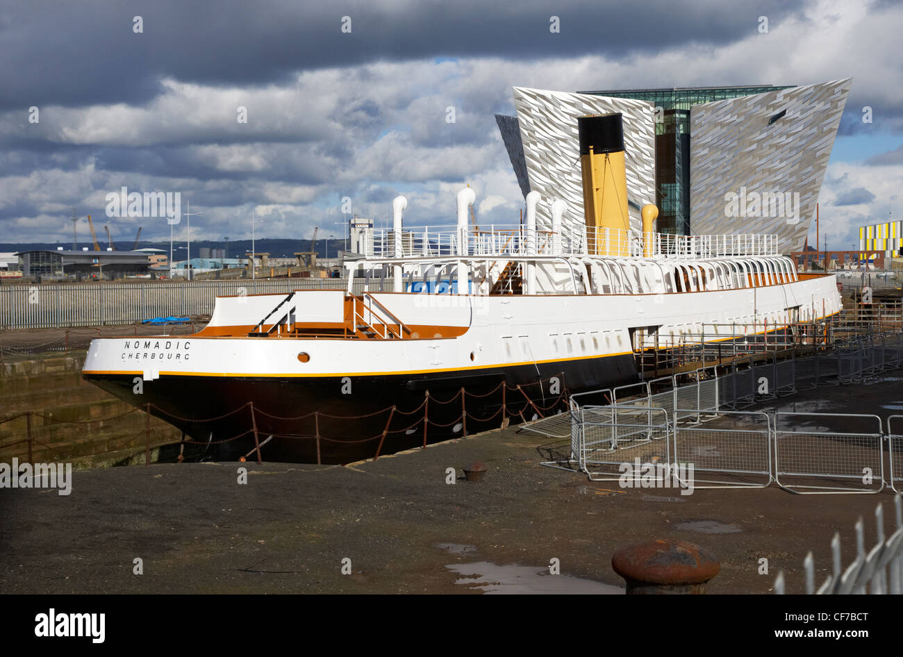 the refurbished ss nomadic tender for the titanic in titanic quarter belfast northern ireland - Stock Image