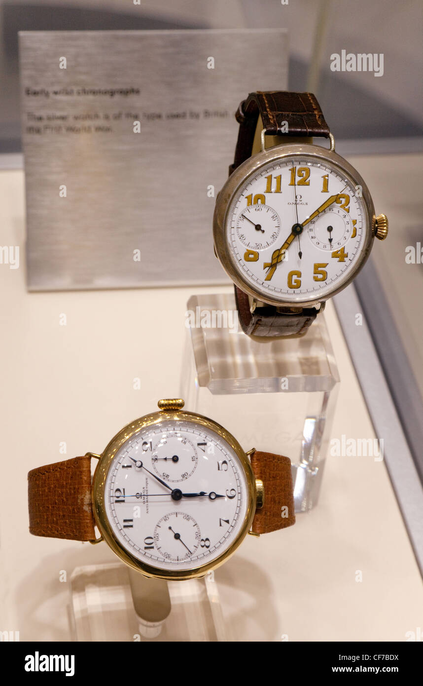 two early Omega wrist chronographs - Stock Image