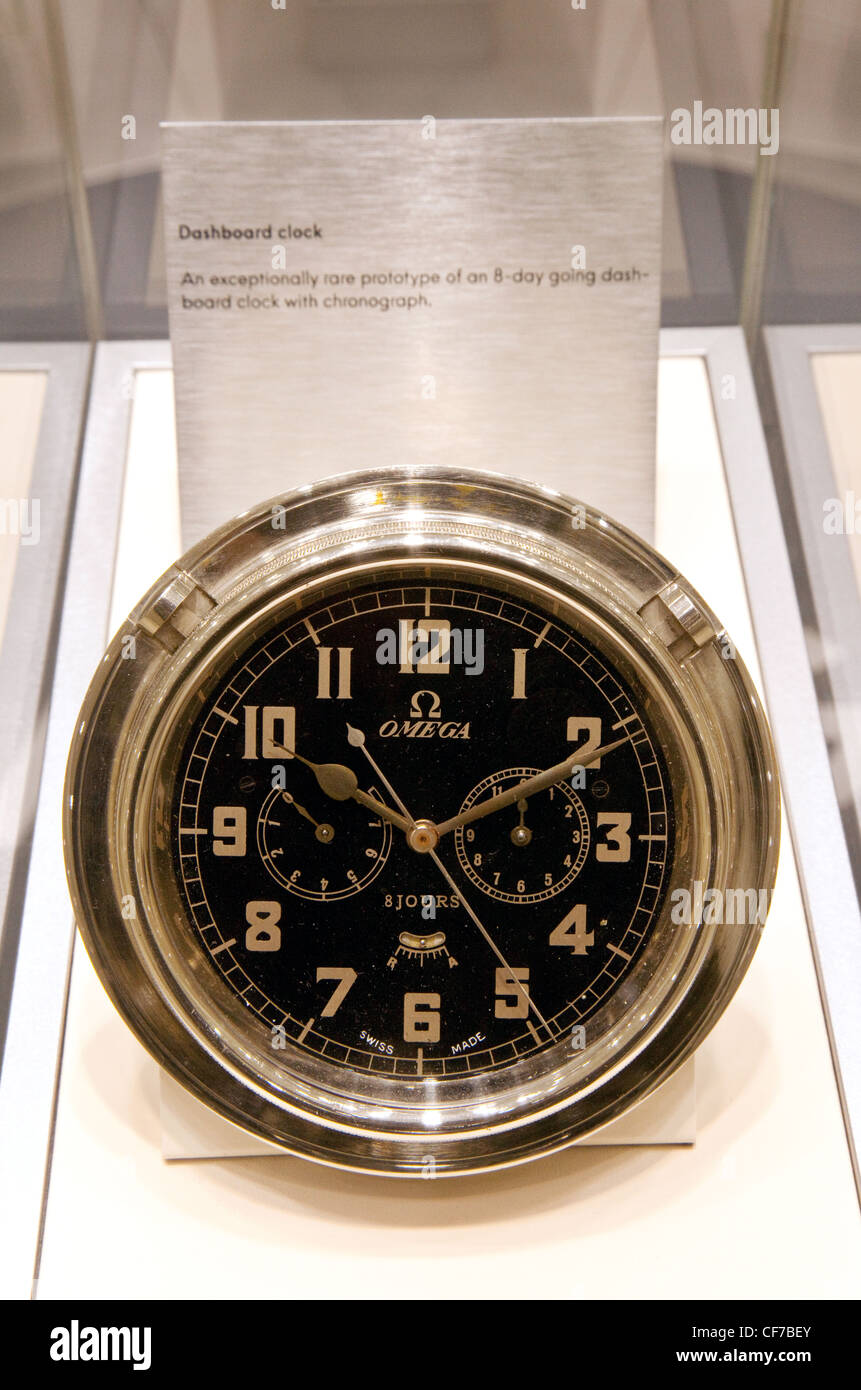 A rare Omega 8 day going car dashboard clock with chronograph - Stock Image