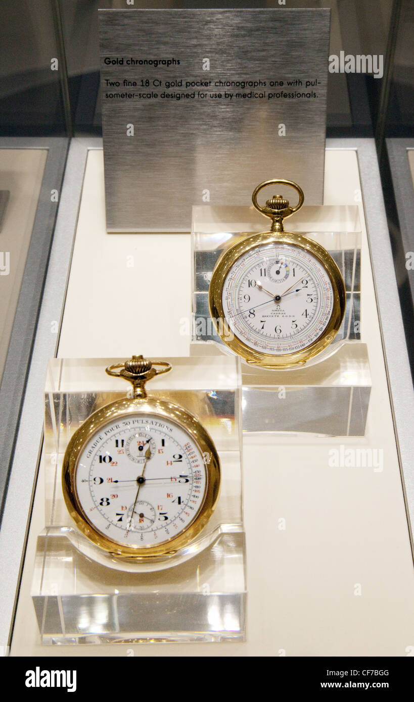 A pair of  Omega 18 carat gold pocket watches used by medical professionals - Stock Image