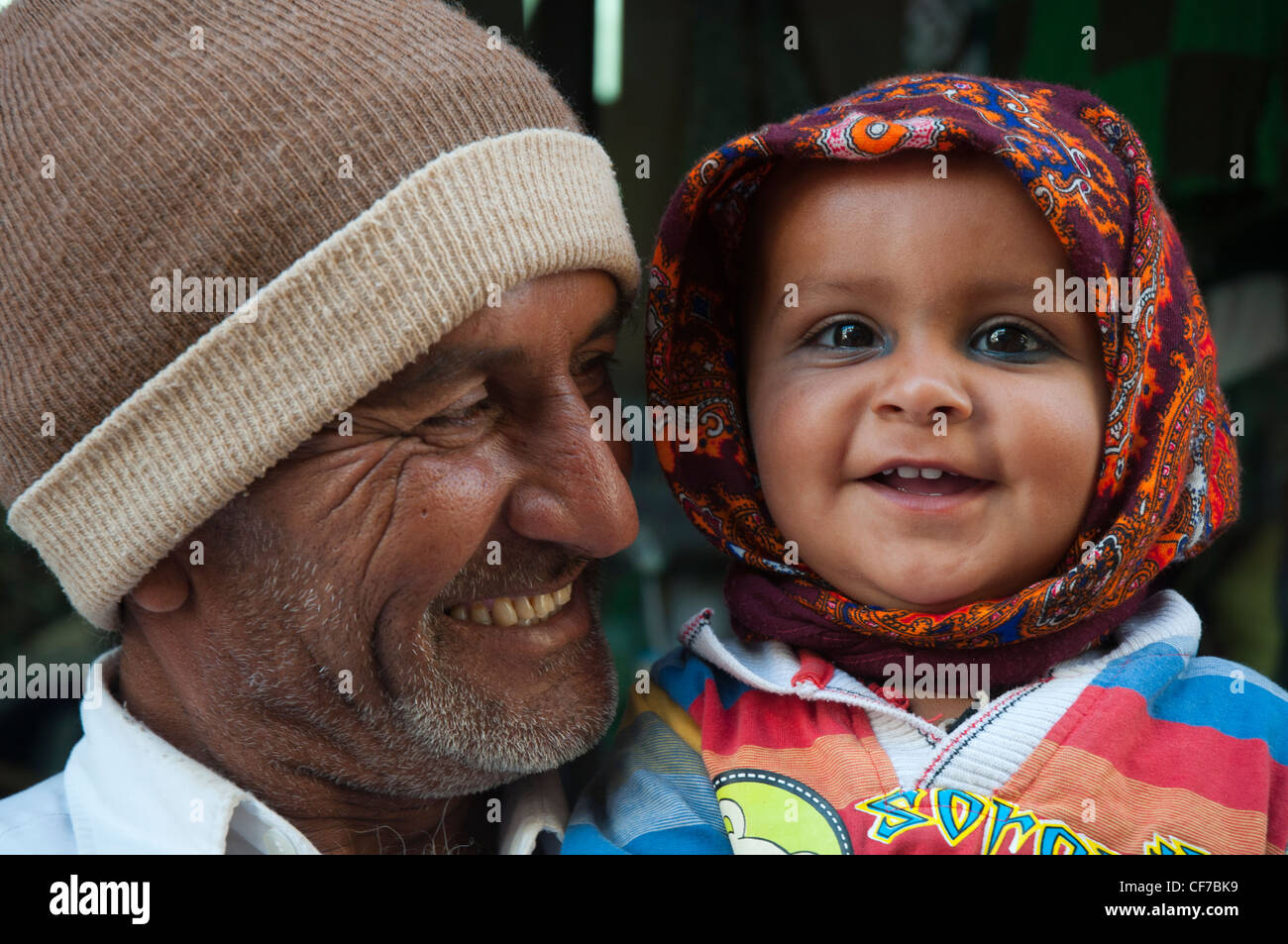 Father and child in Bhuj, Kutch, Gujarat, India - Stock Image