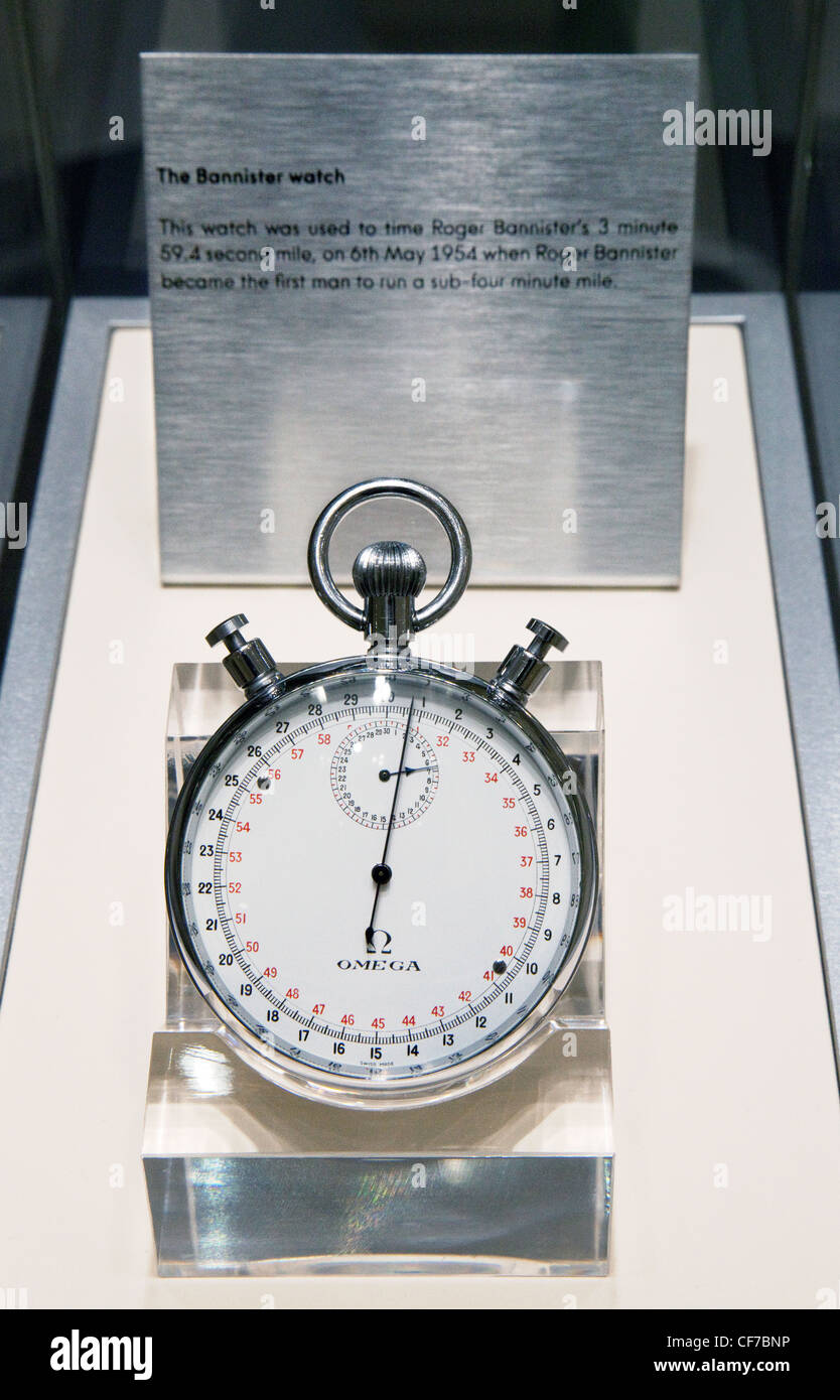 The Omega Bannister stopwatch, used to time Roger Bannisters under 4 minute mile, 1954 - Stock Image