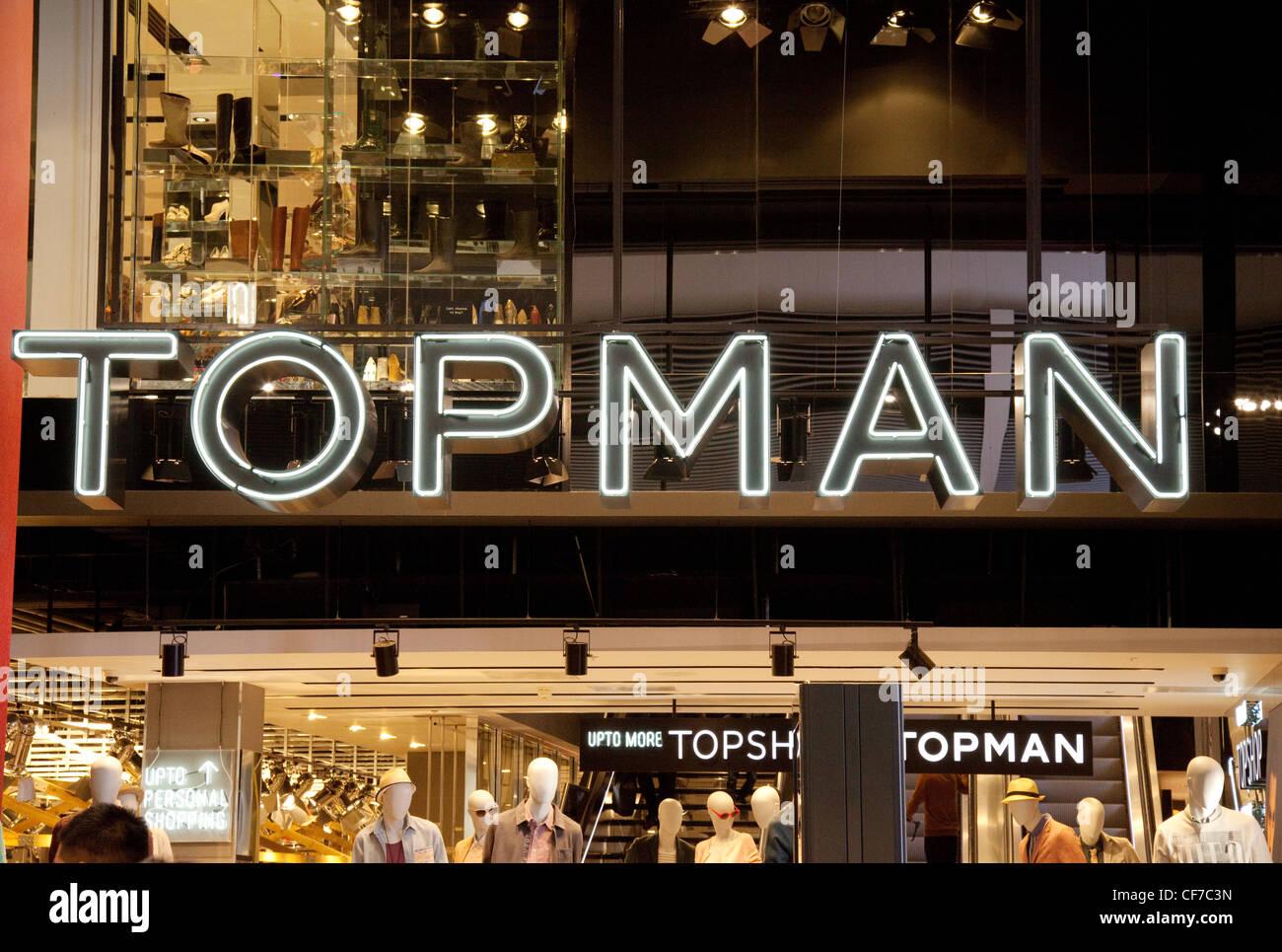 Topman store sign, UK - Stock Image