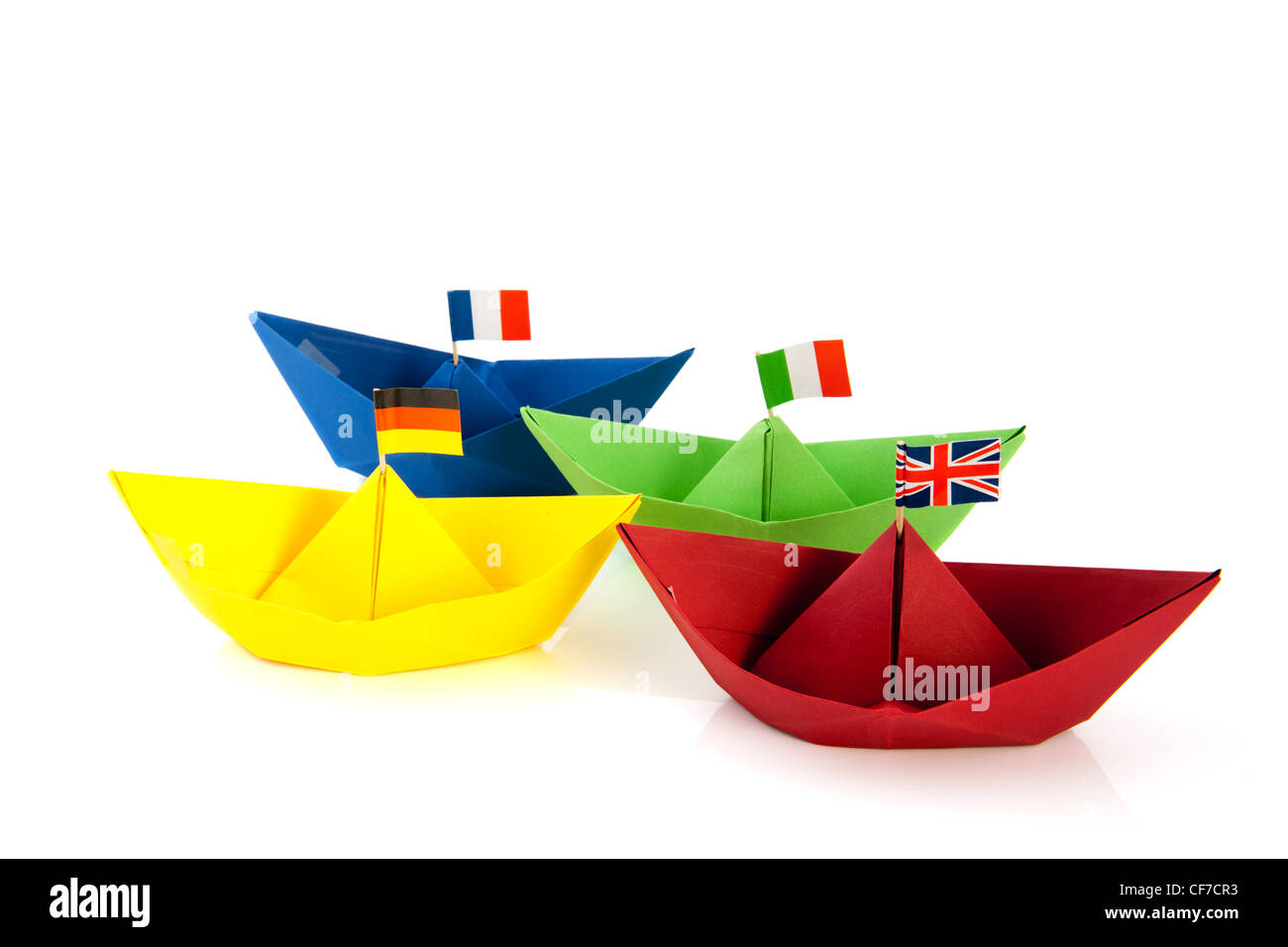 Colorful Folded Paper Boats With European Flags Isolated Over White