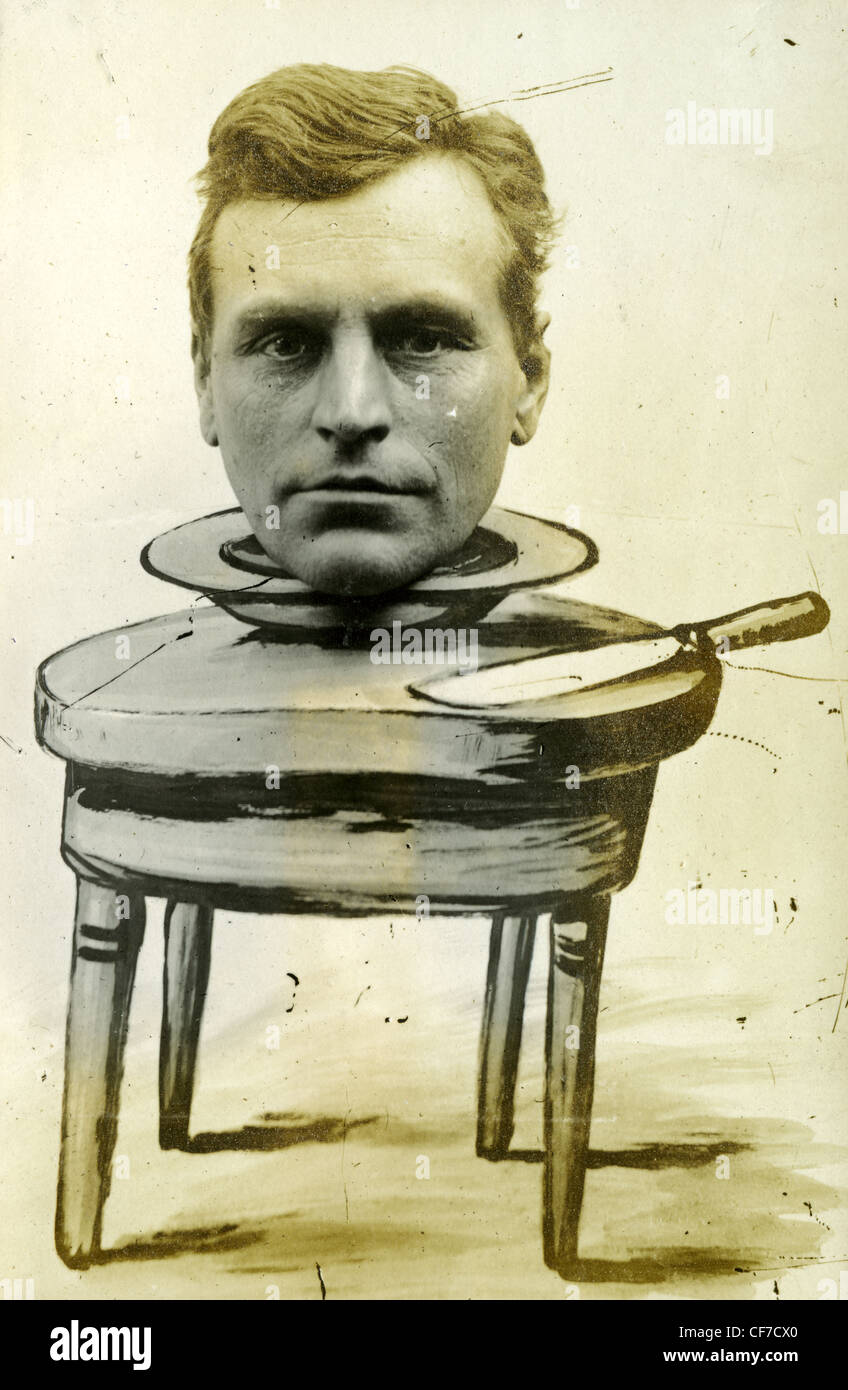 1900s 1800s photo weird portrait man's headshot composite on hand painted table - Stock Image