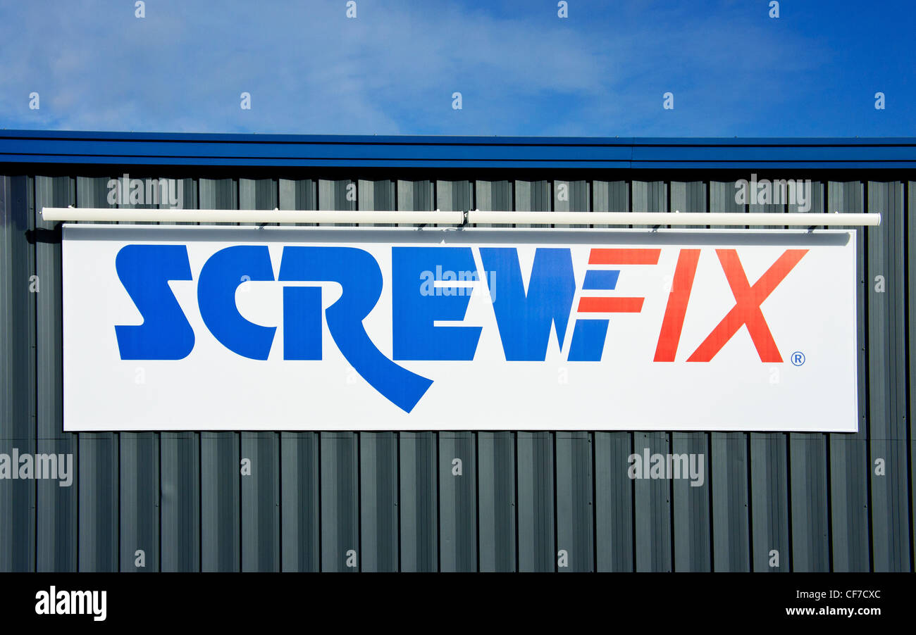 Screwfix company logo sign - Stock Image