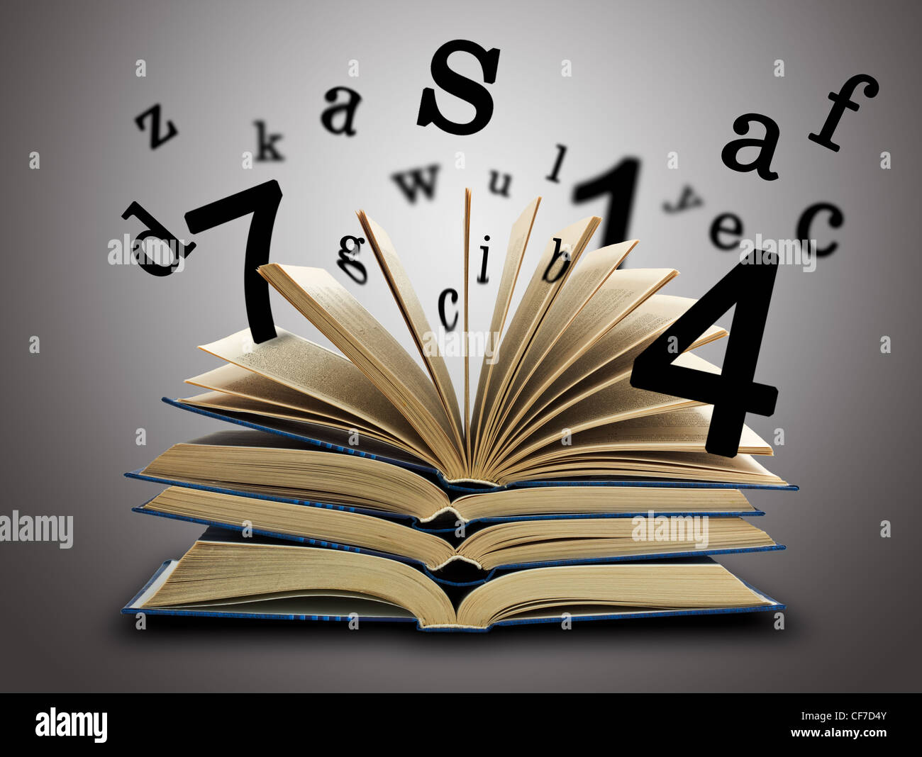 The Magic Book and the letters, numbers on a dark background. Education concept - Stock Image