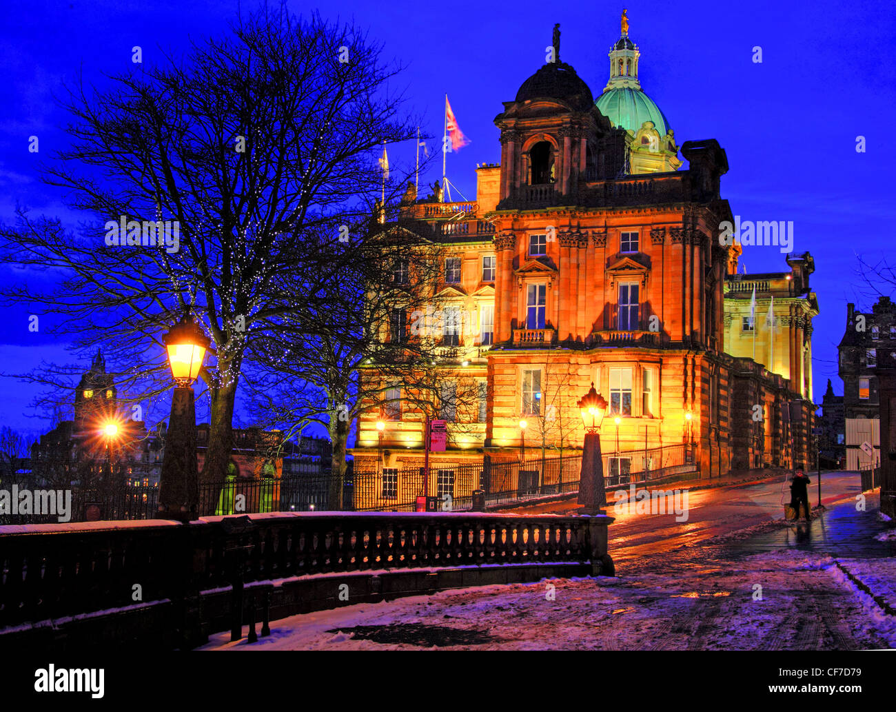 Dusk at the Bank of Scotland Building, The Mound, Edinburgh, Lothian Scotland  , UK in icy weather, winter @Hotpixuk - Stock Image