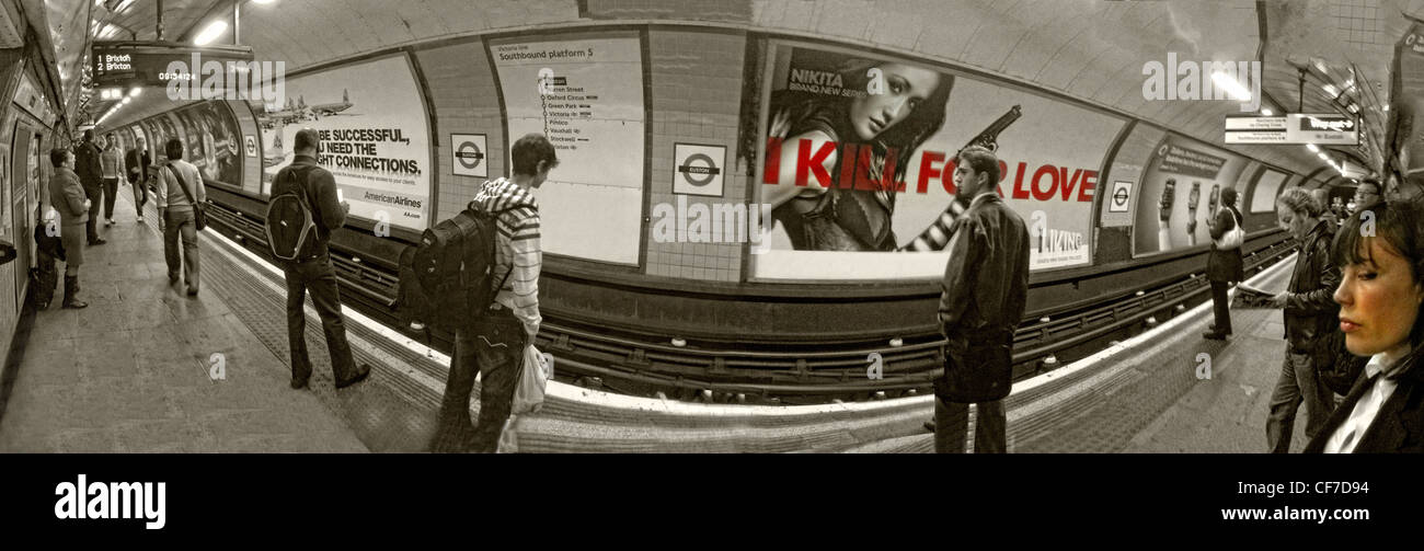Panorama of Euston tube Station, Euston Square, Camden, London, UK - Stock Image