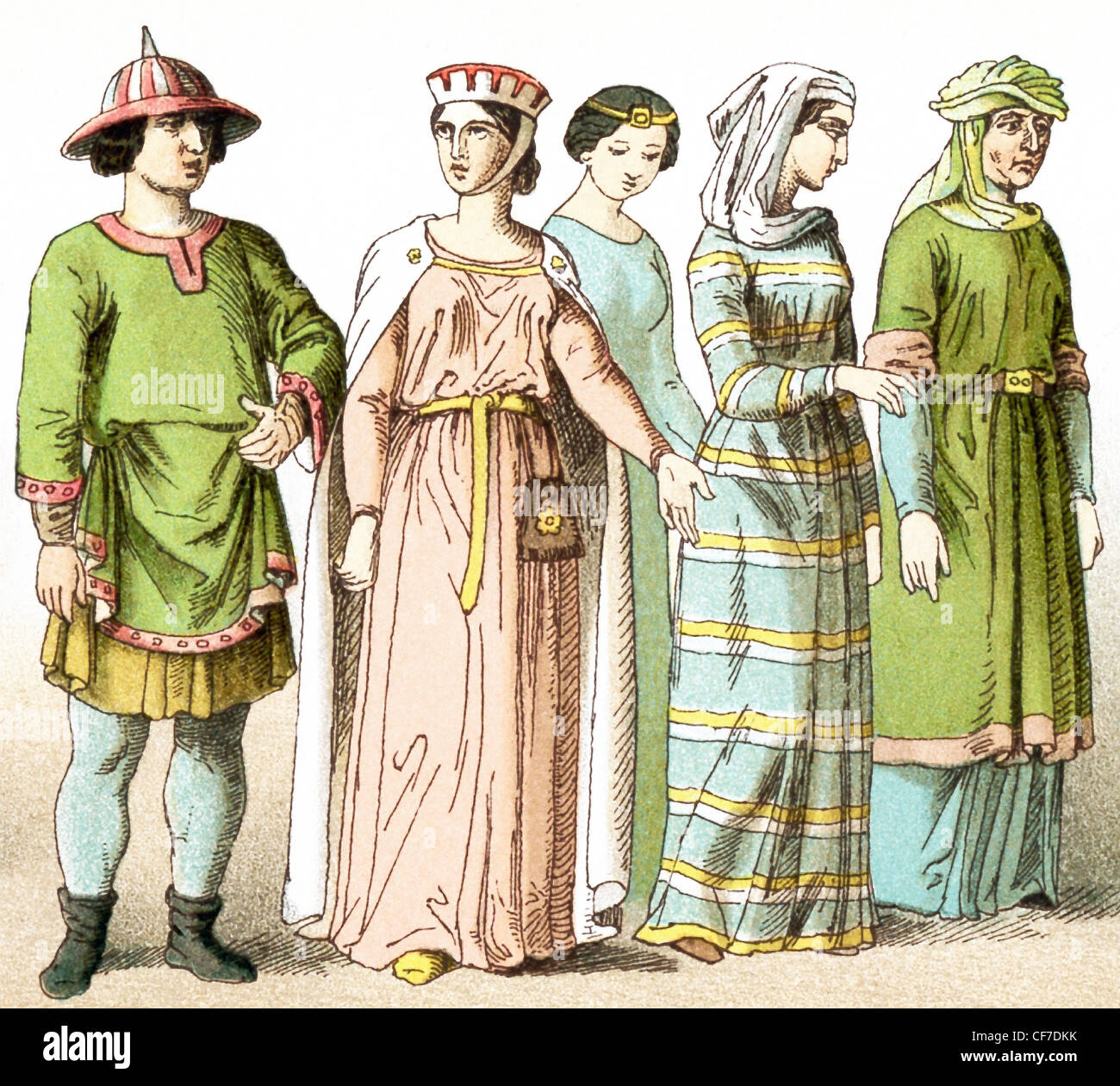 The figures represent French people around A.D. 1100. They are, from left to right: a man of rank and four ladies - Stock Image