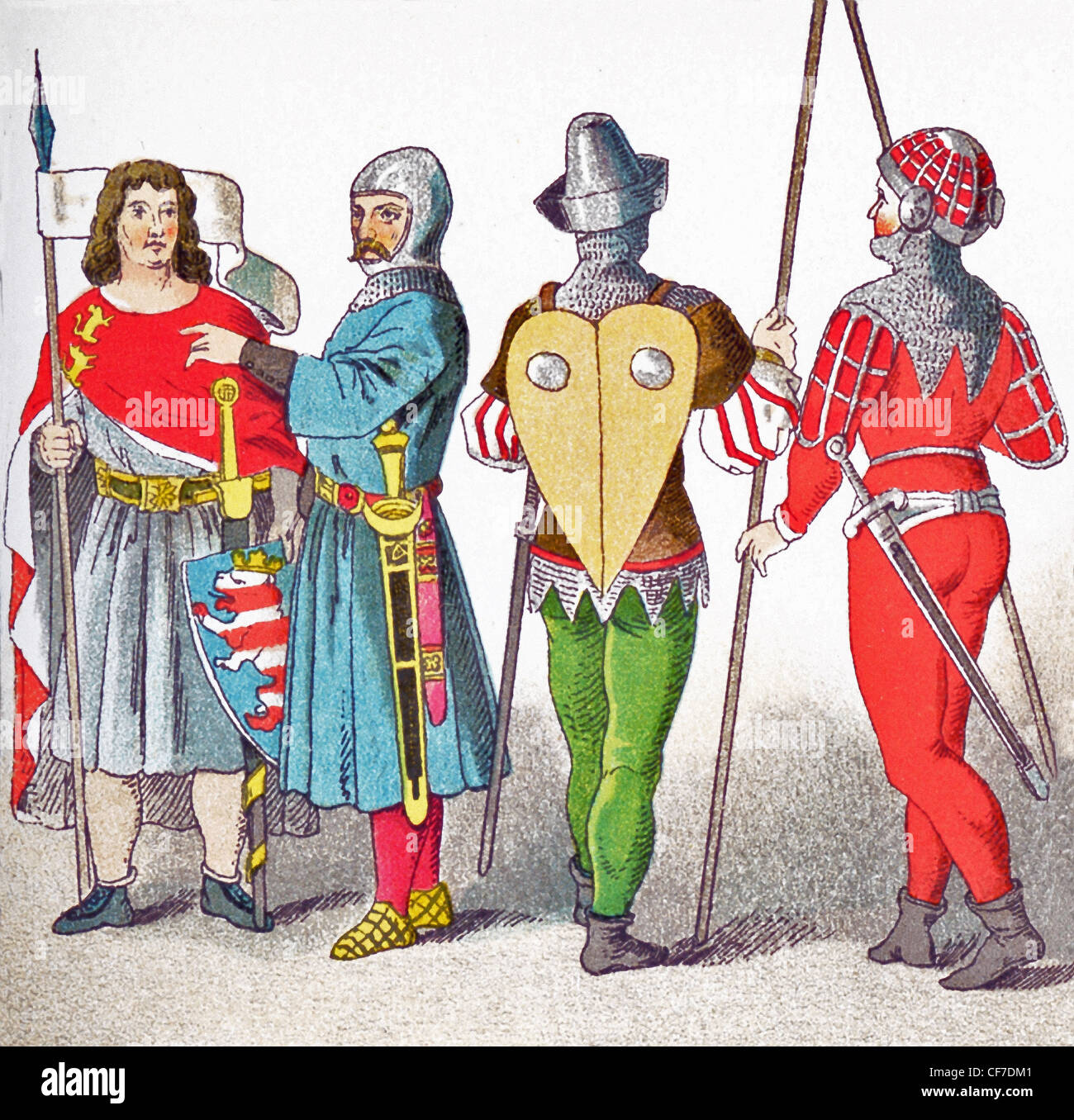 The figures represent Germans from1350 to 1400 (from left to right): Count of Thuringen, knight in battle costume, - Stock Image