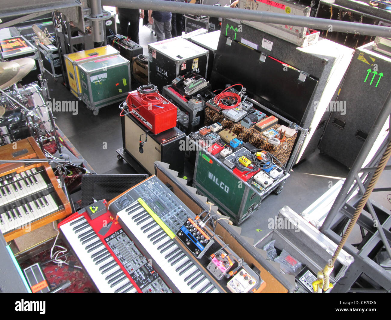 Stacks of keyboards and amplifiers at the Sasquatch festival. - Stock Image