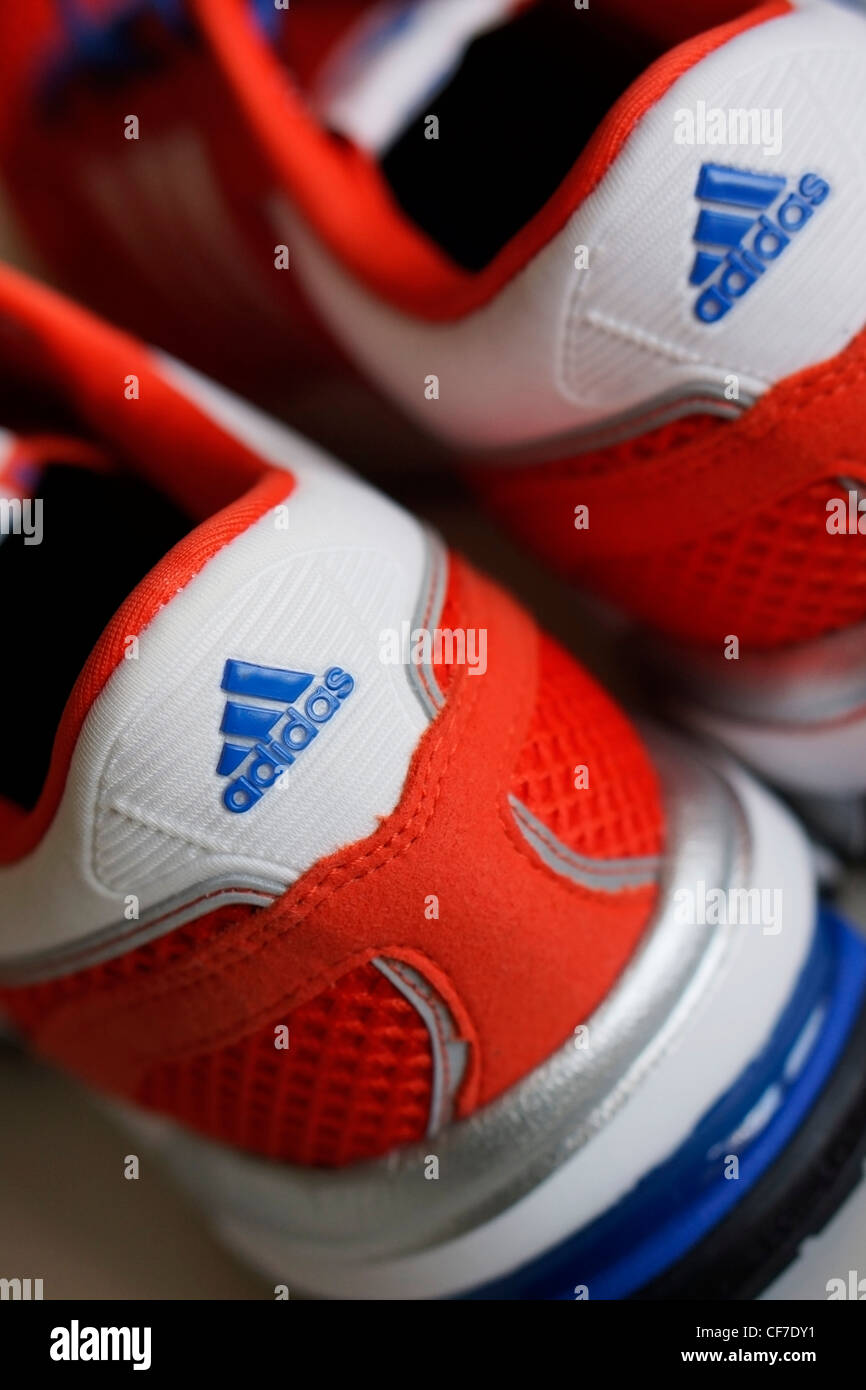 Adidas Trainers Close up - Stock Image
