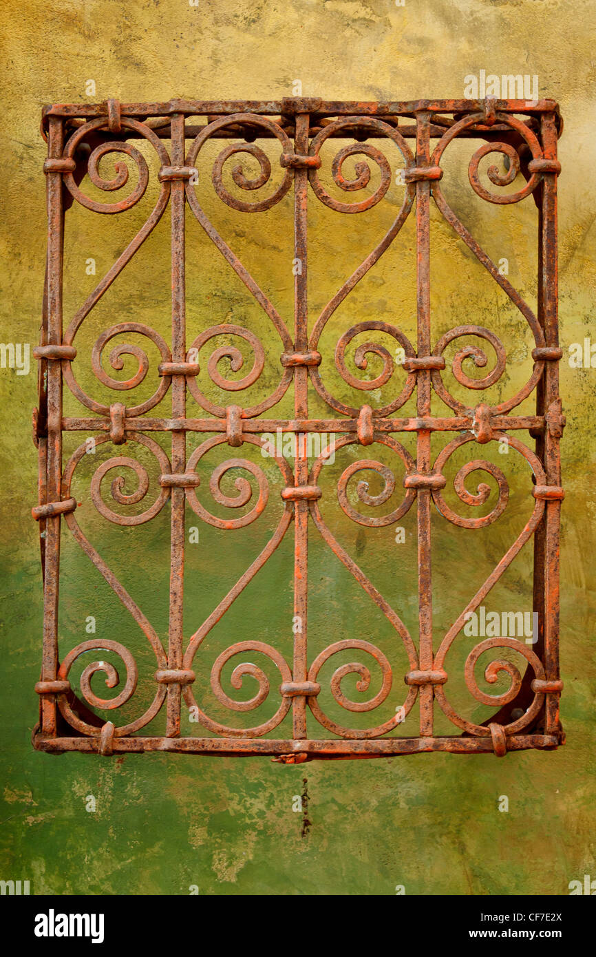 Colorful Wall Wrought Iron Pattern Stock Photos & Colorful Wall ...