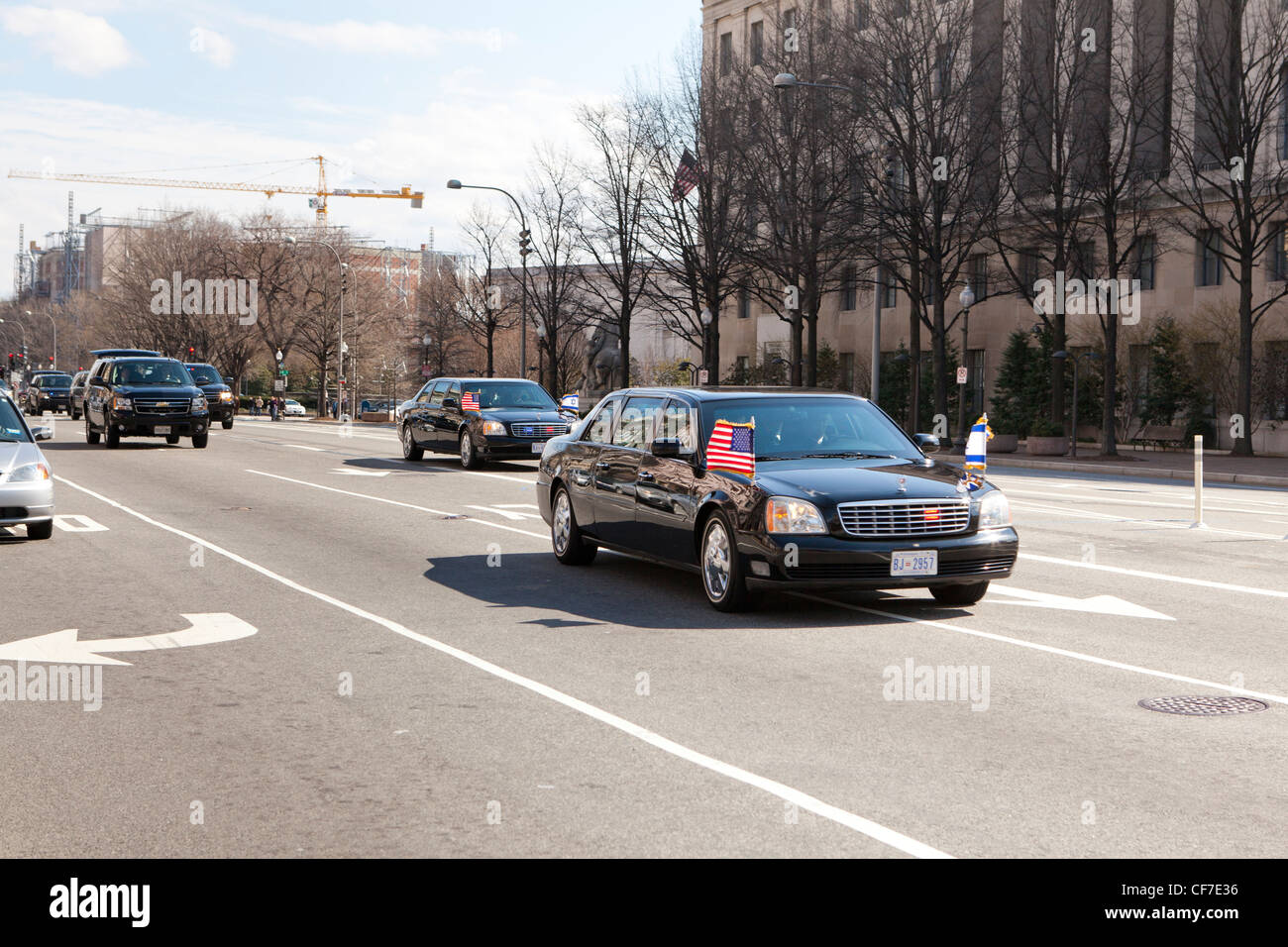 Israeli government delegation limousine driving through Pennsylvania Avenue - Washington, DC USA - Stock Image