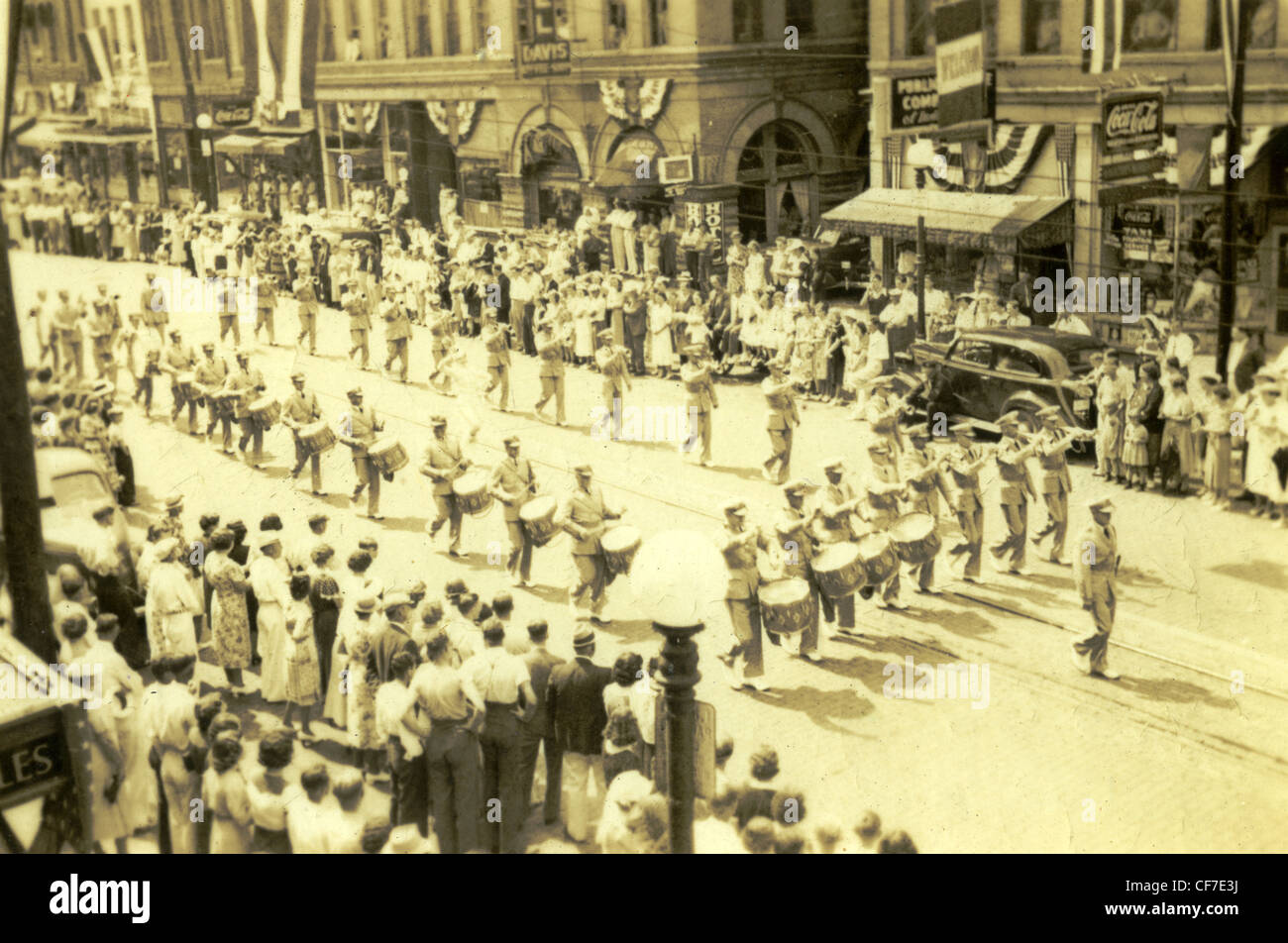 Members of the American Legion band march in downtown Peoria, Illinois in 1934 during the National Convention. parade - Stock Image