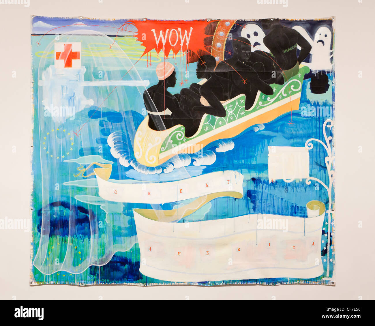 'Great America' 1994 Kerry James Marshall - acrylic and collage on canvas - Stock Image