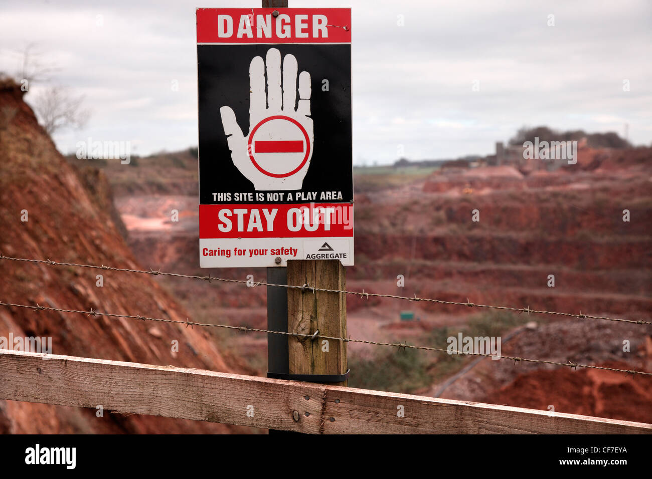 Danger Keep Out - Westleigh Limestone Quarry, Devon - Stock Image